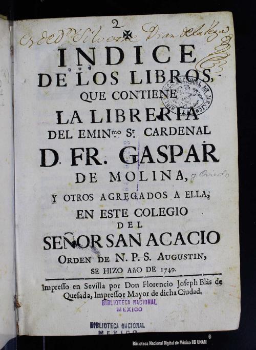 Imagen de Indice de los libros que contiene la librería del Eminmo