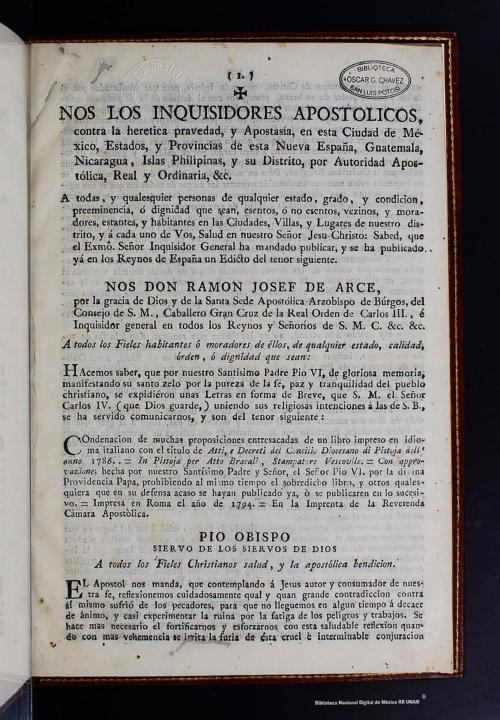 Imagen de Edicto inquisitorial sobre prohibicion del libro pontificio 1801
