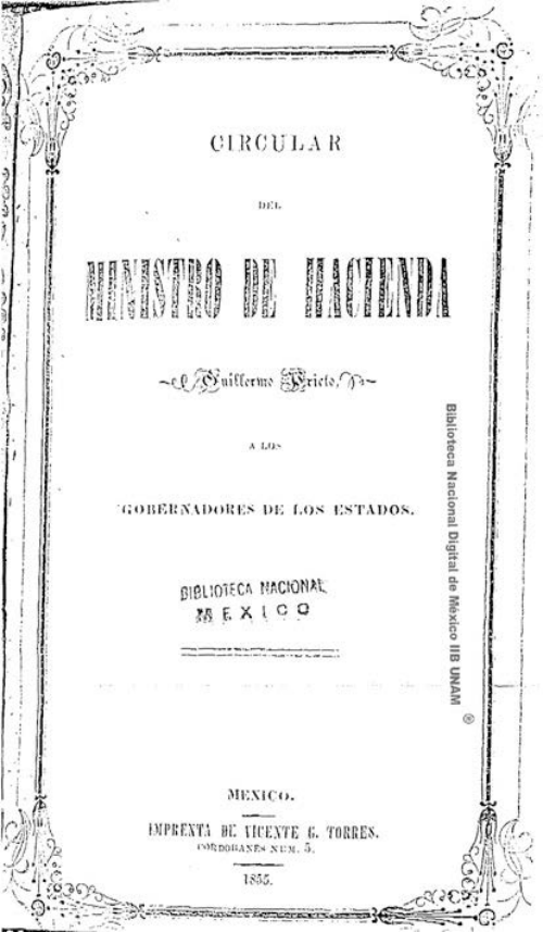 Imagen de Circular del ministro de Hacienda, Guillermo Prieto, á los gobernadores de los Estados