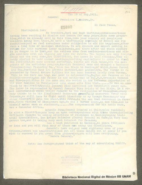 Imagen de Carta de Carl Marttyns a Francisco I. Madero aconsejándole tenga cuidado con la integridad del país, Baja California y el resto de la nación, están en peligro de perderse