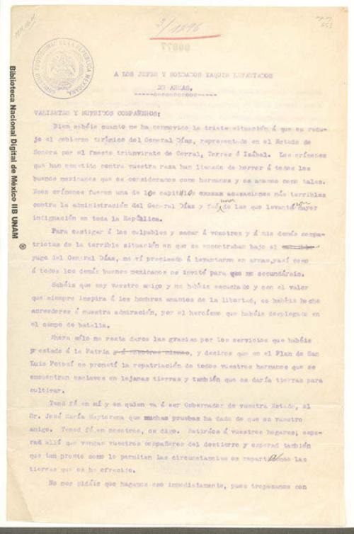 Imagen de Carta de Francisco I. Madero a los jefes y soldados yaquis levantados en armas