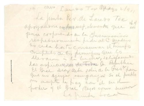 Imagen de La Junta Revolucionaria de Laredo, Texas le aconseja no ceder hasta que se consuma el triunfo de la Revolución