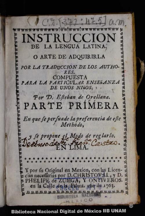 Imagen de Instruccion de la lengua latina, o, Arte de adquirirla por la traduccion de los authores