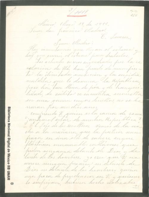 Imagen de Carta de V. L. de Luz en la que critica severamente la actuación de Madero y la revolución