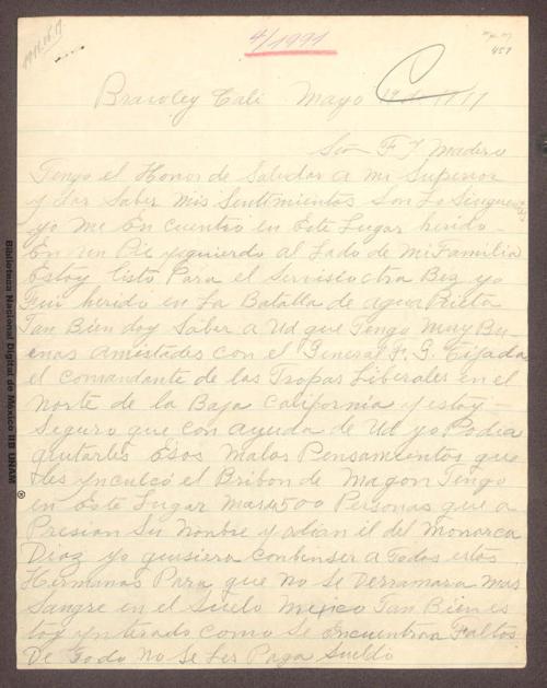 Imagen de Carta de V. Talamantes a Francisco I. Madero indicando que se encuentra nuevamente en condiciones de prestar sus servicios