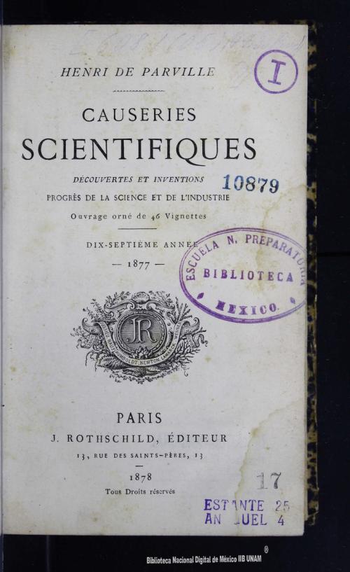 Imagen de Causeries scientifiques découvertes et inventions progrès de la science et de lindustrie