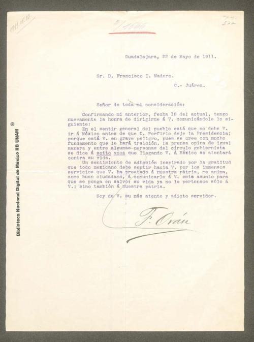 Imagen de Carta de F. Orán en la que recomienda evitar la entrada a la capital en presencia de Porfirio Díaz