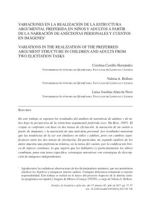 Variaciones En La Realización De La Estructura Argumental