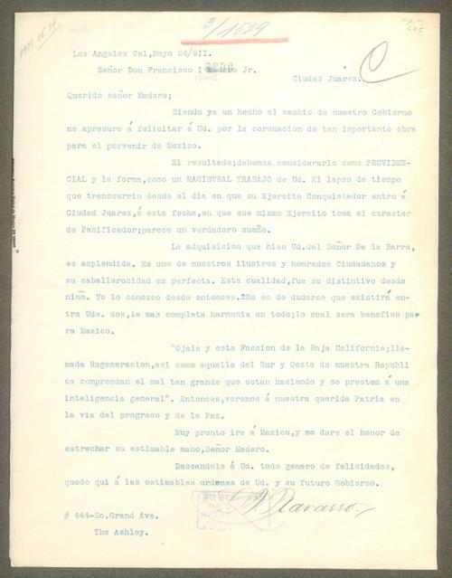 Imagen de Carta de L. V. Navarro sobre la fracción de Baja California