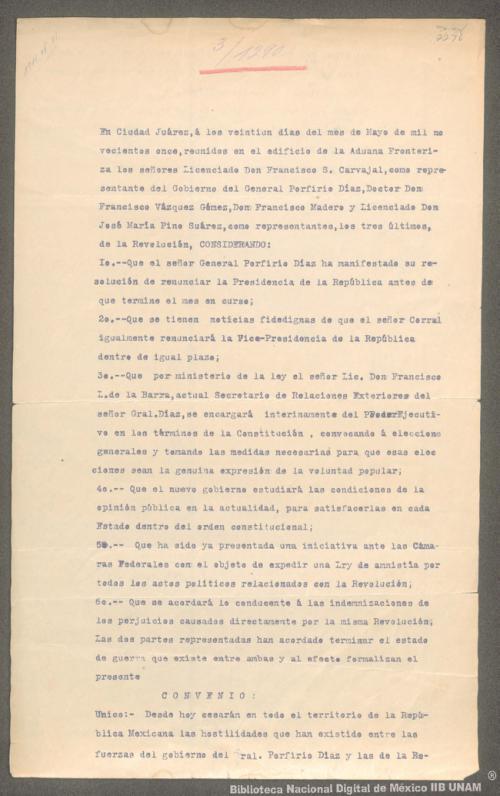 Imagen de Convenio firmado, entre el representante del gobierno de Porfirio Díaz, y los representantes de Francisco I. Madero
