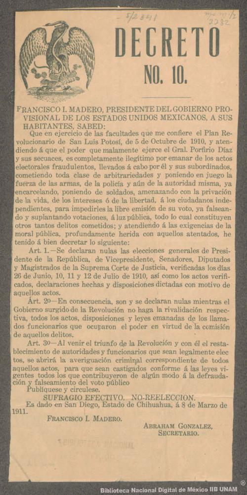 Imagen de Decreto de Francisco I. Madero relativo a la nulidad de las elecciones de 1910