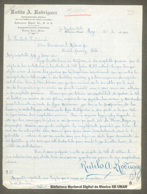 Imagen de Carta de Rutilo A. Rodríguez en la que ofrece sus servicios a la causa