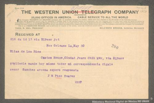 Imagen de Telegrama de José María Pino Suárez a Elías de los Ríos solicitando le envíe toda su correspondencia