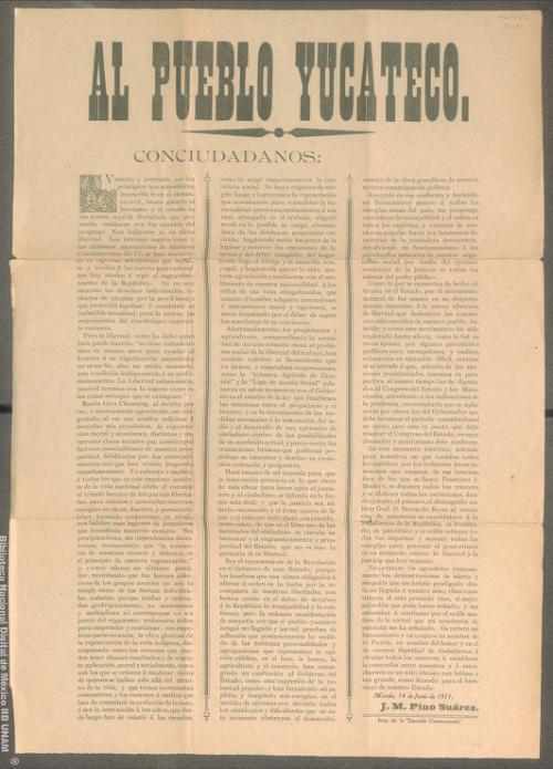 Imagen de Manifiesto de José María Pino Suárez al pueblo yucateco sobre la caída de la dictadura