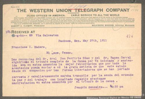 Imagen de Telegrama de Joaquín González a Francisco I. Madero felicitándolo