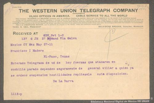 Imagen de Telegrama de Francisco León de la Barra a Francisco I. Madero informando que se ordenó a Francisco Villa suspender las hostilidades en Cuchillo Parado Chihuahua