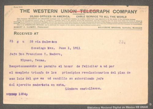 Imagen de Telegrama de Lindoro Castellanos a Francisco I. Madero felicitándolo