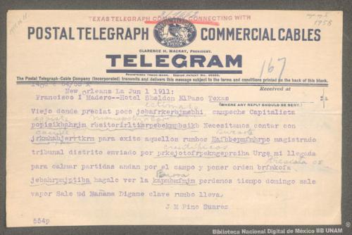 Imagen de Telegrama de José María Pino Suárez a Francisco I. Madero informando que los científicos enviaron a un magistrado del tribunal