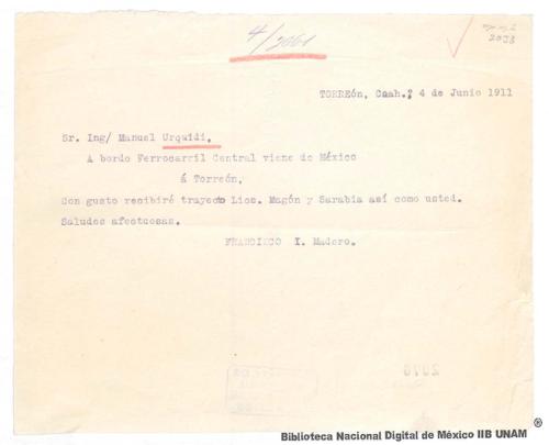 Imagen de Telegrama de Francisco I. Madero a Manuel Urquidi comunicando que recibirá con gusto a Ricardo Flores Magón y Juan Sarabia