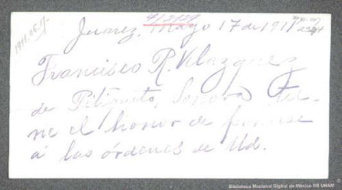 Imagen de Tarjeta de R. Francisco Velázquez