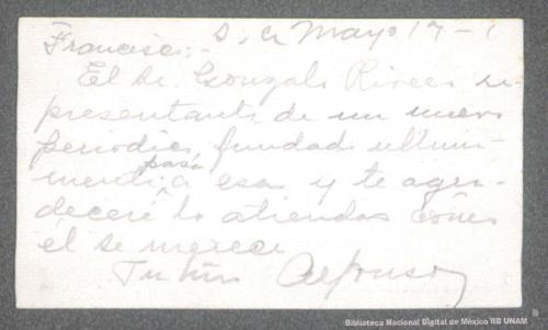 Imagen de Tarjeta de recomendación de Gonzalo G. Rivero por Alfonso Madero