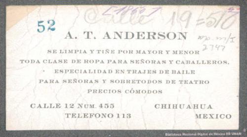 Imagen de Tarjeta de presentación de la casa A. T. Anderson