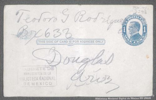 Imagen de Tarjeta postal que contiene los nombres de Teodoro G. Rodríguez y Apolinar S. Escobedo
