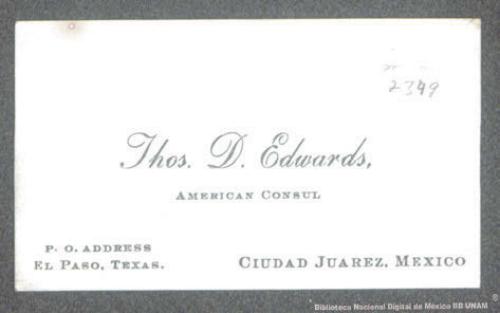 Imagen de Tarjeta de presentación de D. Edwars Thos