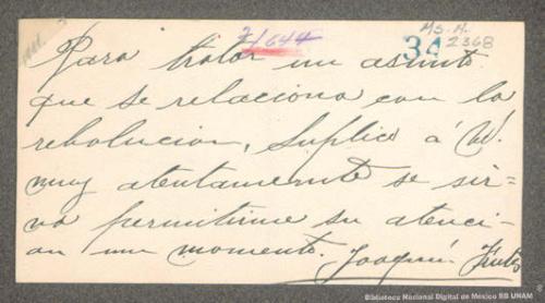 Imagen de Solicitud de audiencia de Joaquín Fuentes a Francisco I. Madero
