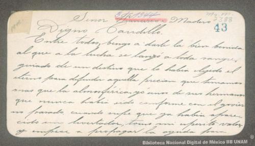 Imagen de Tarjeta de Delfino R. Marín a Francisco I. Madero comparándolo con los héroes nacionales