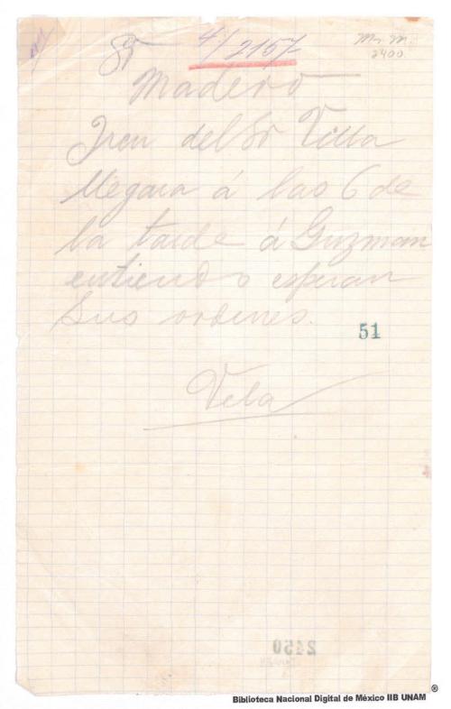 Imagen de Carta de Vela a Francisco I. Madero informando que el tren de Francisco Villa llegará a las 6 de larde a Guzmán Chihuahua