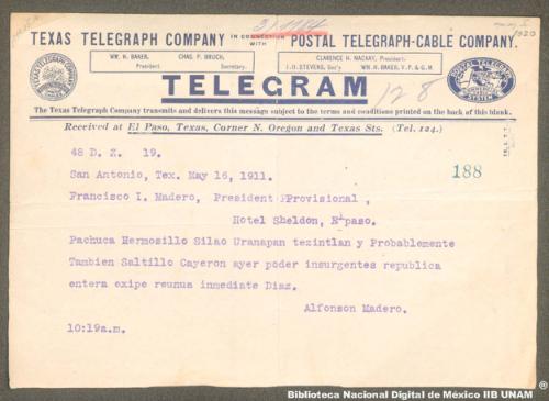 Imagen de Telegrama sobre la ocupación de algunas ciudades por la insurgencia