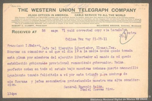 Imagen de Telegrama de Eugenio Aviña a Francisco I. Madero informando la toma de Colima y Manzanillo por parte de las fuerzas revolucionarias
