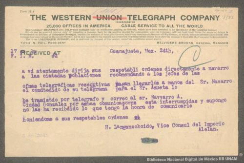 Imagen de Telegrama de H. Langenschoido a Francisco I. Madero informando que Navarro solo obedecerá sus órdenes directas