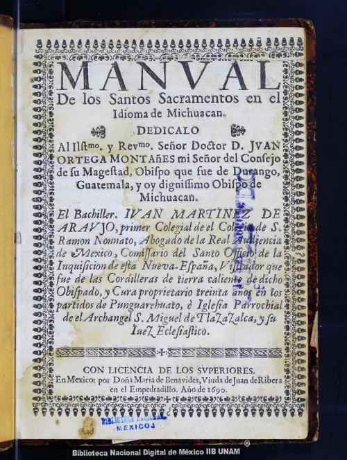 Imagen de Manval de los Santos Sacramentos en el idioma de Michuacan