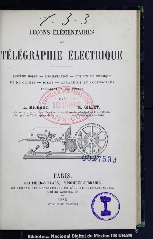 Imagen de Leçons élémentaires de télégraphie électrique