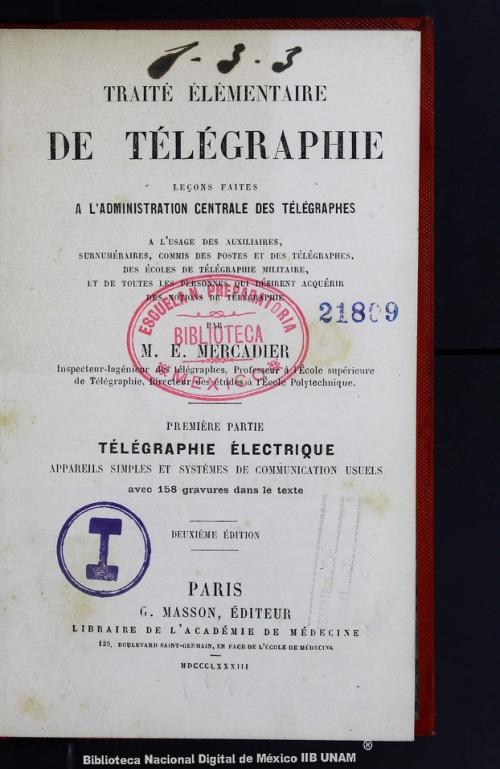 Imagen de Traité élémentaire de télégraphie