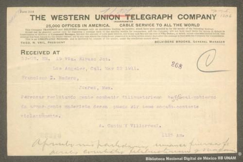 Imagen de Telegrama de A. Cantú y Villareal a Francisco I. Madero informando que en Baja California se combatirá a los filibusteros