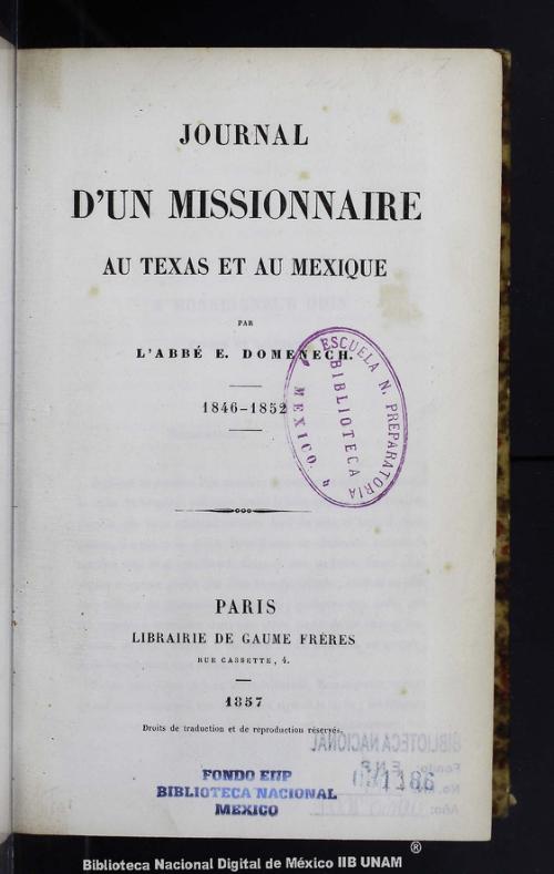 Imagen de Journal dun missionnaire au Texas et au Mexique 1846-1852