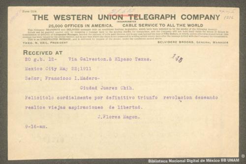 Imagen de Telegrama de Jesús Flores Magón felicitando a Francisco I. Madero
