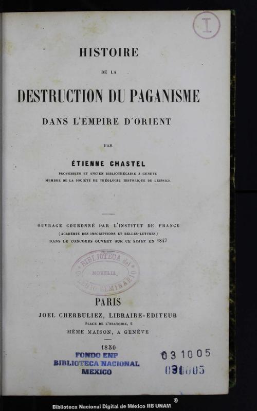 Imagen de Histoire de la destruction du paganisme dans lempire dorient