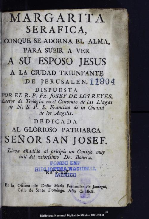 Imagen de Margarita serafica, conque se adorna el alma, para subir a ver a su esposo Jesus a la ciudad triunfante de Jerusalen