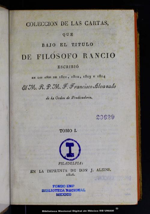 Imagen de Colección de las cartas que bajo el título de Filósofo Rancio escribió en los años de 1811, 1812, 1813 y 1814