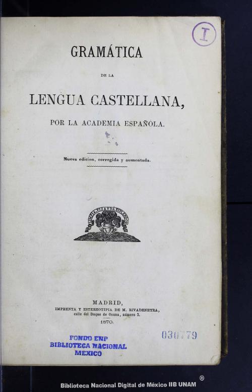 Imagen de Gramática de la lengua castellana