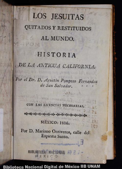 Imagen de Los jesuitas quitados y restituidos al mundo: historia de la antigua California