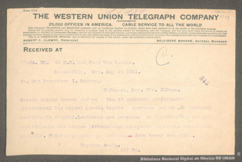 Imagen de Telegrama de Eugenio Aviña a Francisco I. Madero informando la toma del Estado de Colima y el nombramiento de Miguel García Topete como gobernador provisional