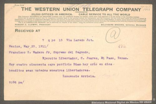 Imagen de Telegrama de Inocencio Arriola a Francisco I. Madero informando la caída del gobierno de Porfirio Díaz