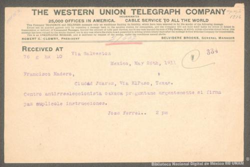 Imagen de Telegrama de José Ferrel a Francisco I. Madero solicitando información sobre la firma de la paz