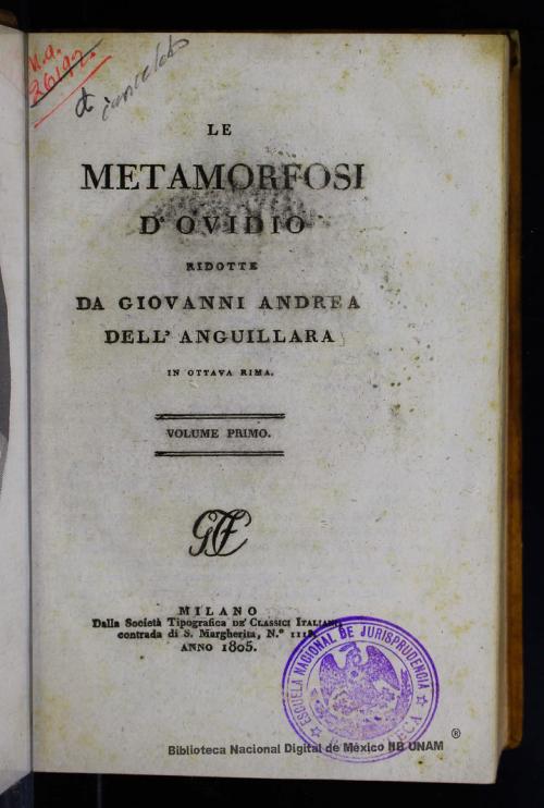Imagen de Le metamorfosi d Ovidio: in ottava rima