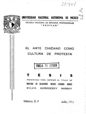 El Arte Chicano Como Cultura De Protesta